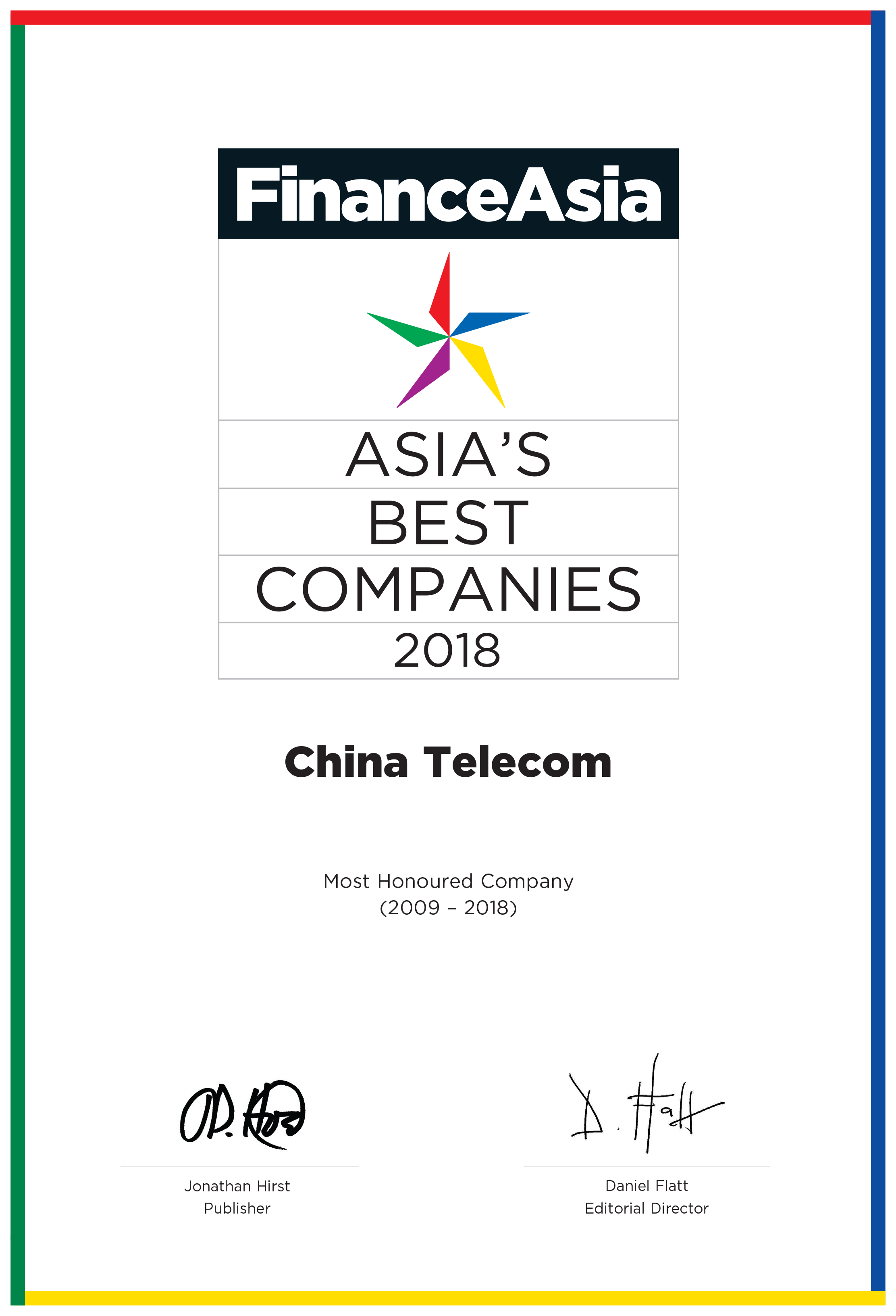 China Telecom Corporation Limited - Company > Recognition